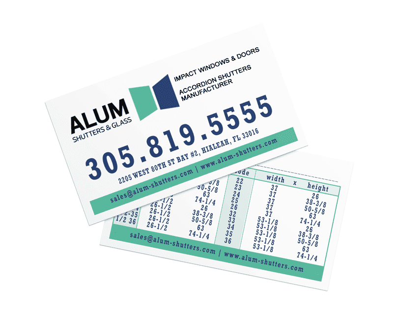 Alum Shutters and Glass - Business Card