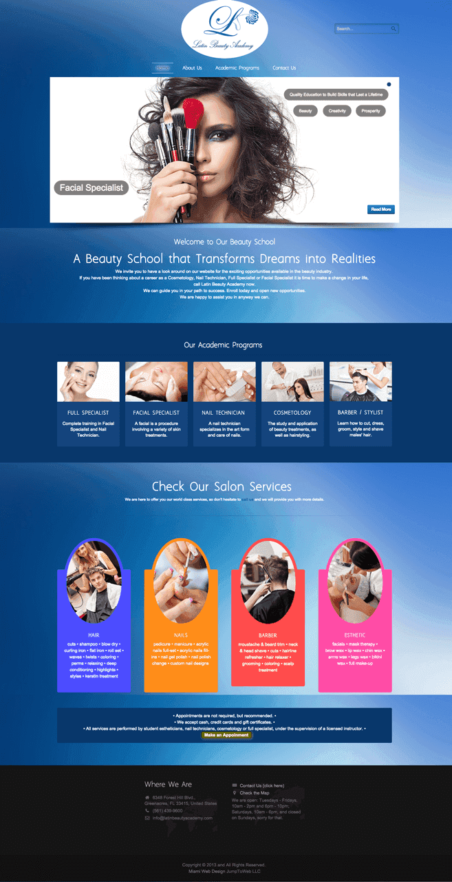 Latin Beauty Academy - Web Design